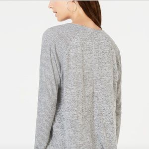 I. N.C Ribbed-Sleeve knit Top.color(Heather Belle)
